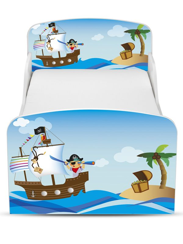 kinderbett 140x70 mit schublade und mit matratze motiv piraten ii. Black Bedroom Furniture Sets. Home Design Ideas