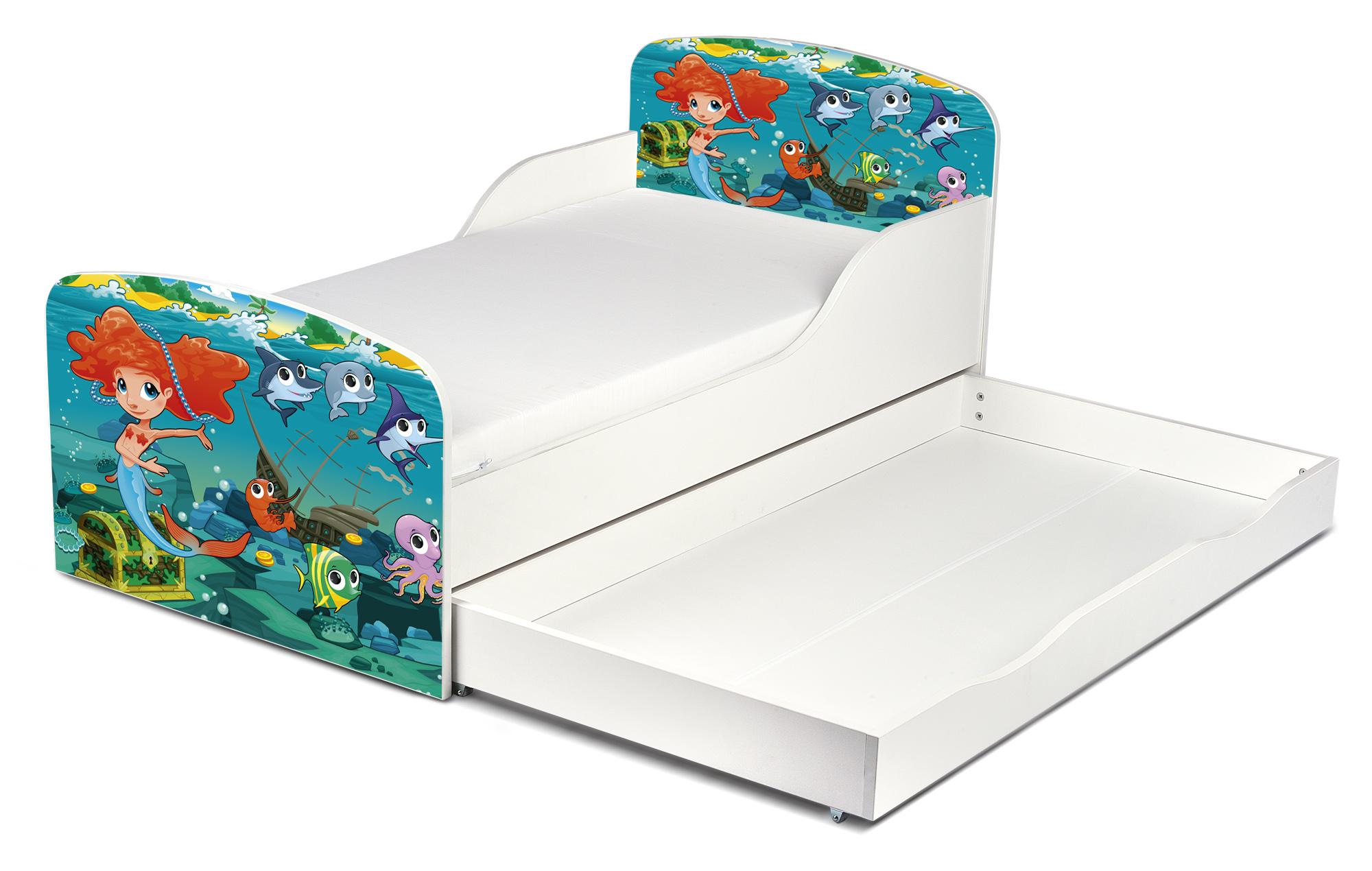 kinderbett 140x70 cm mit matratze und schublade thema meerjungfrau. Black Bedroom Furniture Sets. Home Design Ideas